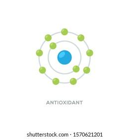 Antioxidant vector icon, radical free oxidant molecule.