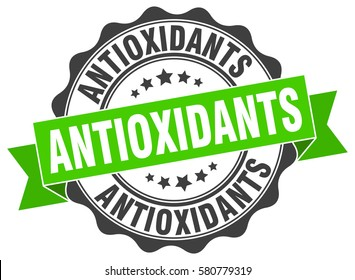 antioxidants. stamp. sticker. seal. round grunge vintage ribbon antioxidants sign