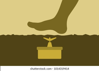 Anti-personnel landmine ( land mine ) is under surface of ground. Human foot and leg is goint to step and tread on the deadly military weapon. Minefield from the war and warfare