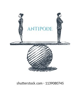 Antipode - concept art sketch. Man and woman standing on the scales back to each other. Vector hand drawn illustration.