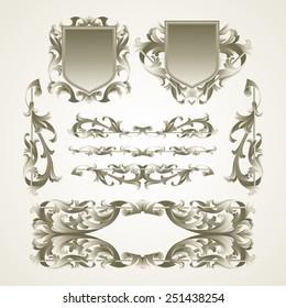 Antiquated ornate patterns. Vector illustration.