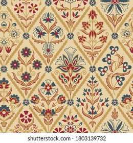 antique abstract block print flower pattern