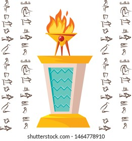 Antique altar or table for religious offering with burning sacrificial fire and Egyptian hieroglyphs, cartoon vector illustration, graphical user interface for game design isolated on white background
