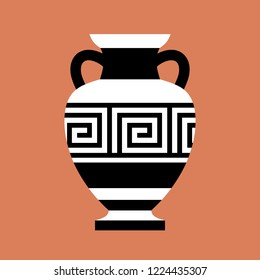 Antique amphora, vase with ornament. Vector illustration, silhouette. White and black colors. On orange background.