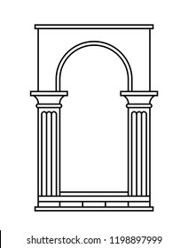 Antique arch with columns. Linear silhouette. Vector illustration.