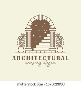 Antique arch logo template. Vintage gate vector design. Arched construction logotype