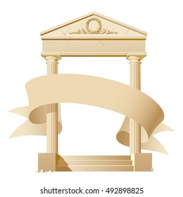 Antique architectural construction with a banner isolated on white. Vector illustration