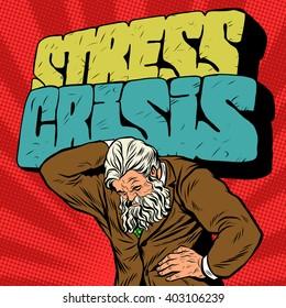 Antique Atlas stress crisis strong man businessman