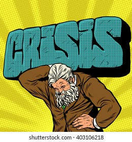 Antique Atlas strong crisis man businessman