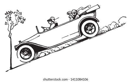 Antique Automobile on Steep Hill in which four people riding in an old fashioned car going down a steep incline, vintage line drawing or engraving illustration.