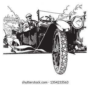 Antique Automobile with a tire in the foreground, vintage line drawing or engraving illustration.