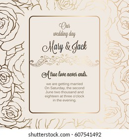 Antique baroque luxury wedding invitation, gold on beige background with frame and place for text, lacy foliage made of roses with shiny gradient