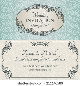Antique baroque wedding invitation, brown on beige and blue background