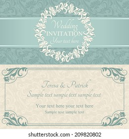 Antique baroque wedding invitation, ornate round frame, blue and beige