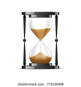 Antique black hourglass with transparent effect, isolated on white