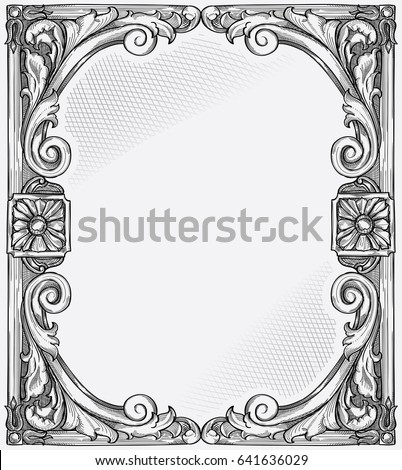 Antique Black White Decorative Frame Stock Vector (Royalty Free ...
