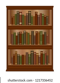Antique bookcase with old books