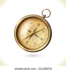 Antique brass metal  compass isolated on white background vector illustration