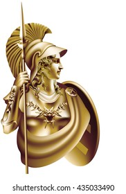 Antique Bronze goddess Athena on a white background / Tinting - on a separate layer, blend mode and color can be changed