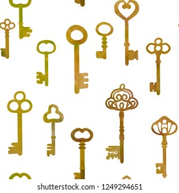 Antique bronze keys.   Vector seamless pattern. Watercolour imitation.
