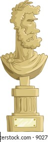 Antique bust on a white background, vector