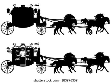 antique carriage with four running horses - easy editable silhouette