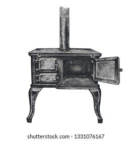 Antique cast iron stove with an open oven. Vector vintage drawing of wood burning stove.Retro style.