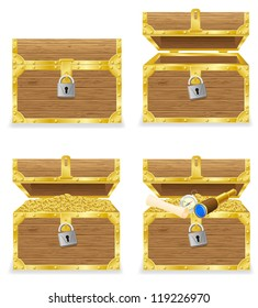 antique chest vector illustration isolated on white background