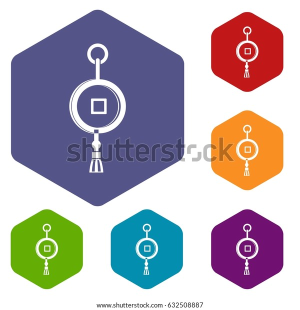 Antique Chinese coin icons set hexagon isolated vector illustration