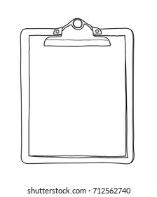 antique clipboard and blank paper hand drawn vector line art illustration