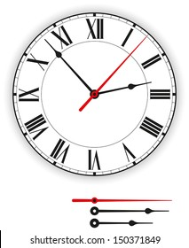 Antique Clock Face - Illustration of a antique clock face (dial) as part of an analog clock (watch) with black and red pointers. Isolated on white background.