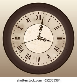 Antique clock. A vintage watch with Roman numerals. Vector illustration.