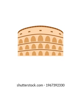 Antique Colosseum or Coliseum theater building icon or symbol, flat vector illustration isolated on white background. Roman ancient architecture example.