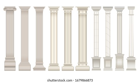 Antique column realistic set icon. Isolated vector realistic set icon classic pillar. Vector illustration antique column on white background .