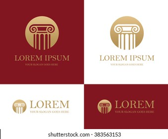 Antique column round icon in red and golden colors. Can be used as logo for law firm, architectural, historical or educational concepts