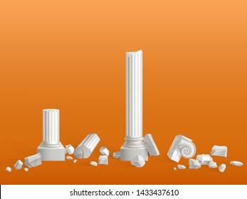 Antique columns of white marble stone broken on pieces, ancient Greek city or Roman empire temple, palace ruins fragments isolated 3d realistic vector illustration. Touristic attraction design element