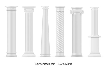 Antique columns white realistic set. Pillars greek or roman colonnade architecture elements. Monuments, capitals. Pedestals, stands collection. Vector columnn isolated on white background.