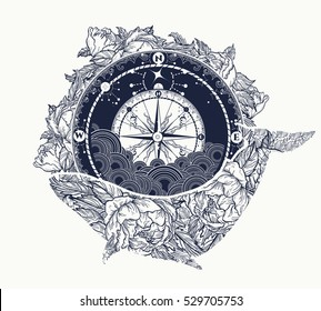 Antique compass and floral whale tattoo art. Mystical symbol of adventure, dreams t-shirt design. Travel, adventure, outdoors symbol whale, marine
