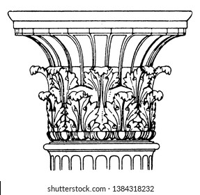 Antique Corinthian is found in Melos, Greece Capital, antique, cylindrical, design, greece, vintage line drawing or engraving illustration.