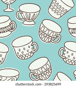 antique cup doodle seamless background