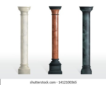 Antique cylindrical columns of white, red and black marble stone with cubical base realistic vector isolated on white background. Ancient architecture, historical or modern building exterior element