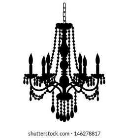 antique decorative chandelier silhouette isolated on white, full scalable vector graphic