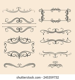 Antique decorative elements, set vintage ornaments for design. Vector illustration