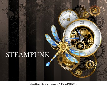 Antique dials with gold and brass gears, decorated with mechanical dragonfly on brown, striped background. Steampunk.