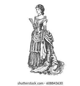Antique dressed ladie. Old fashion vector illustration. Victorian woman in historical dress. Hand drawn, vintage engraved style