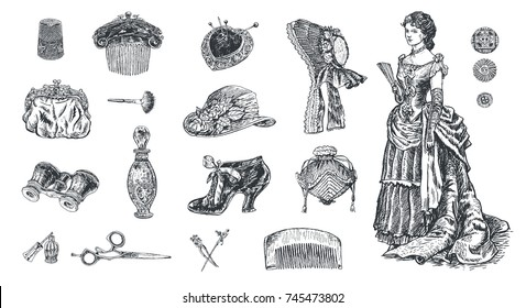 Antique dressed ladie.Set of vintage women's fashion accessories. Bonnet hat, female comb, shoe, purse, perfume, cosmetics, pins, scissors, glasses. Vector hand drawn illustration, engraving style