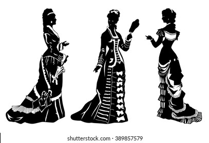 Antique dressed ladies. Victorian style fashion vector illustration.Vintage collection of retro women silhouettes