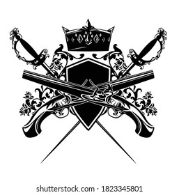 antique duel pistols, crossed epee swords and royal crown with heraldic shield among rose flowers - vintage style security concept black and white vector design