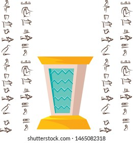 Antique empty altar or table for religious offering and Egyptian hieroglyphs, cartoon vector illustration, graphical user interface for game design isolated on white background