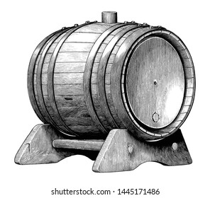 Antique engraving illustration of Oak barrel hand drawing black and white clip art isolated on white background,Alcoholic fermentation oak barrel